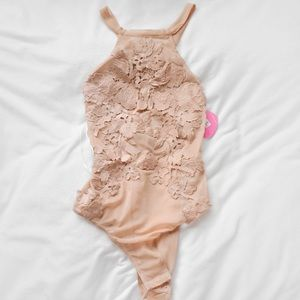 Nude lace and mesh bodysuit